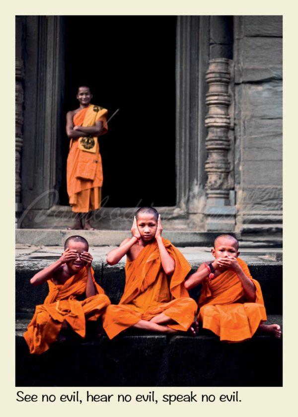 Postcard angkor wat monk see speak hear no evil