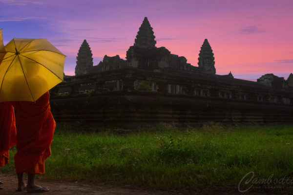 Monks of Angkor sunset
